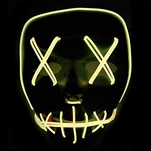 ToWinle Halloween Masken Festival Party Cosplay LED Leuchten Maske Karneval Maske Halloween Accessoires Grimasse Maske Batterie Angetrieben(Nicht Enthalten) (Gelb)