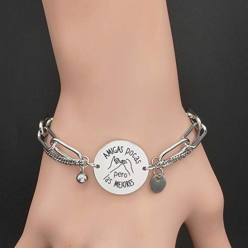 Imagen de hwoemx pulsera de acero inoxidable charm best friend silver color chain bracelet jewelry