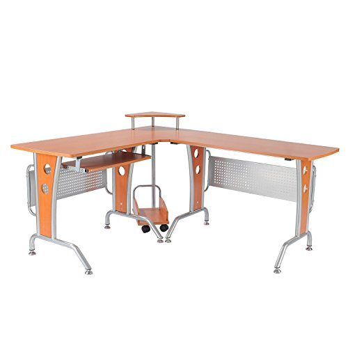Homcom A2-0076 Computertisch, Holz, braun, 170 x 140 x 86,5 cm