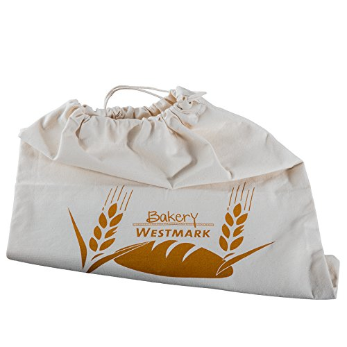 Westmark Brotbeutel/Aufbewahrungsbeutel mit Kordelzug, 100% Baumwolle, Für Den Brotkasten, 38 x 45 cm, Naturweiß, 32102270