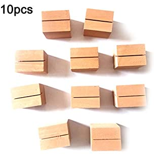 Rekkles Wood Memo Clips Block Paper Photo Picture Holder, Wooden Desktop Message Card Clamps Stand