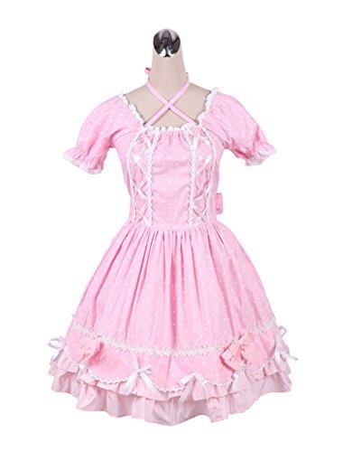 le Spitze Flieges Rüsche süß Retro viktorianisch Knielang Elegant Lolita Cosplay Kleid,XL (Gotische Viktorianische Kostüme)