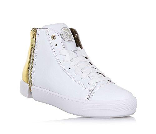 DIESEL - Sneaker à lacets blanche et dorée en cuir, fermetures éclair dorées latérales, Fille, Filles, Femme, Femmes