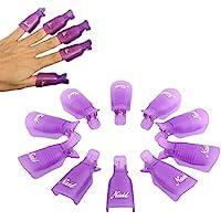 Culater® 10PC Plastica Nail Art Impregna Fuori Della Clip Della Protezione UV Del Gel Polish Remover Wrap Strumento (Viola)