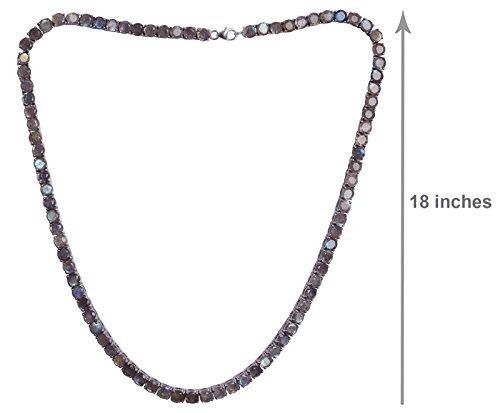 Banithani 925 pierres précieuses Collier argent charme indien de bijoux fantaisie Bleu grisâtre