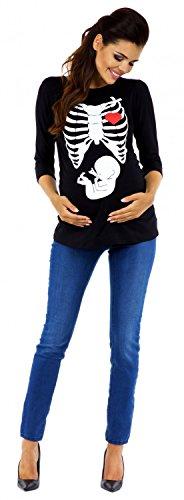 Zeta Ville Maternité - Tee shirt de grossesse motif humour imprimé - femme 615c Noir