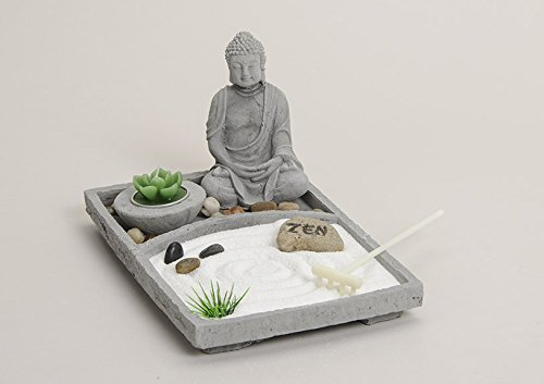 deko set zen garten mit buddha grau feng shui relaxendeko set zen garten springbrunnen. Black Bedroom Furniture Sets. Home Design Ideas