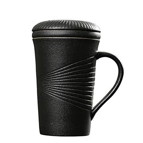 JWYKY Becher mit Deckel Steingut Keramik Filtertee Tasse Kreative Tasse einfache Büro -Tee -Tasse zu Hause Grober Keramik Persönliche Cup