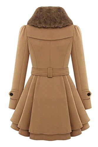 Une Femme À Double Boutonnage Bowknot Plissée Manteau D'hiver De Vêtements. Camel