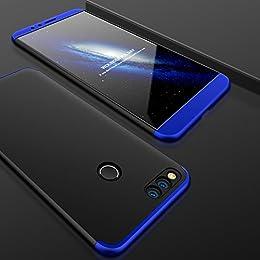 Funda Huawei Honor 7X,Carcasa Huawei Honor 7X,JMGoodstore Funda 360 Grados Integral Para Ambas Caras + Cristal Templado para Huawei Honor 7X,[ 360 ° ] 3 in 1 Slim Fit Dactilares Protectora Skin Caso Carcasa cover para Huawei Honor 7X Azul+Negro