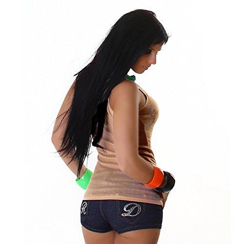 Jela London Damen Shirt Top Trägertop Tanktop mit Nieten-Kreuze Rundhalsausschnitt Beige