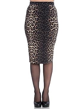 Falda Tipo Tubo de Hell Bunny Panthera Leopardo en estilo 50s Vintage Retro para Trabajo Oficina Fiesta
