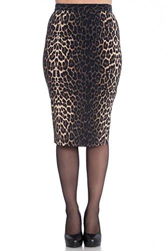 Falda Tipo Tubo de Hell Bunny Panthera Leopardo en estilo 50s Vintage Retro para Trabajo Oficina Fiesta - (S - ES 38)