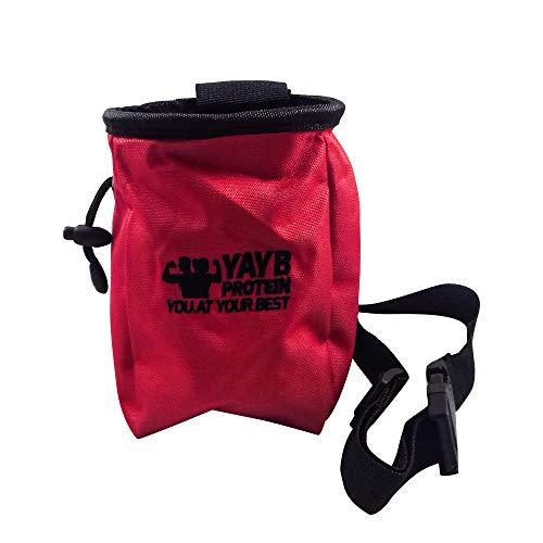 YAYB Pro Chalk Bag für Training, Klettern, Bouldern, Verstellbarer Taillengürtel und Reißverschlusstasche, rot Singing Rock Chalk Bag