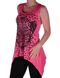 Eyecatch - Damen Designer Tiger Motiv Lange drapierte Stretch Vest Top Damen Plus Size