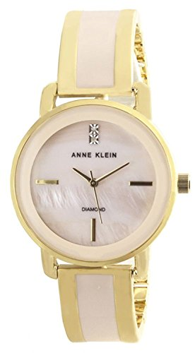 Anne Klein Women's Mother of Pearl Dial Gold Tone Metal Bracelet Watch AK/2812LPGB