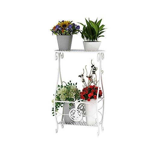 HTZ Jardinière En Fer Blanc Pour Intérieur | Européen 2 Couche Échelle Salon Métal Pot De Fleur Cadre De La Plante 34x23x56.5cm ++