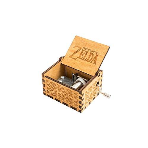 IUwnHceE ZELDA Music Box Holz Klassische Musik Box Geburtstags-Geschenk Handkurbel Klassische Antike Geschnitzte Holz Spieldosen Brown -