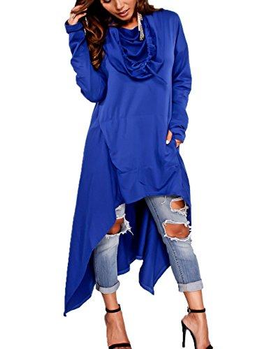 Junshan Kapuzenpullover Pullover Damen Lang Strick Oversize Langarm Pullikleid Longshirt Top 36-48 10 Farbe 7 Größe (Blau, 44) (Gap Baby Leinen)