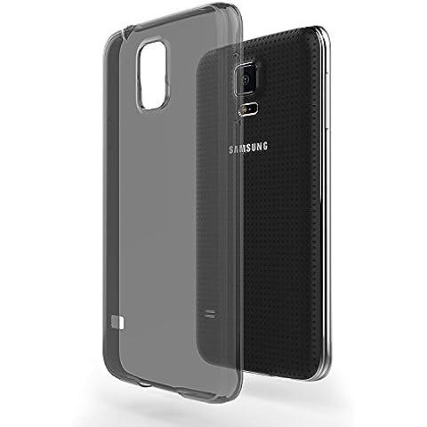 Funda Galaxy S5 / S5 Neo - Azorm Crystal Edition Smoke Negro - Funda de Silicona de gel TPU Transparente, Ultra delgada, Resistente a los arañazos en su parte trasera, Amortigua los golpes [SE INCLUYE UN PROTECTOR DE PANTALLA Y UNA BAYETA LIMPIADORA] funda protectora anti-golpes para Samsung Galaxy S5, Galaxy S5 Neo /