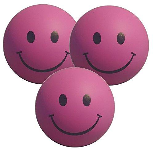 Stressballs 3 x Rosa - Smiley Stress Ball - Antistressball , Knautschball - Kleiner Ball, Grosse Stresserleichterung