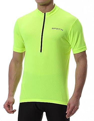 Basics Men's Short Sleeve Cycling Jersey - Bike Biking Shirt (Hi-Viz Yellow, Chest 44-46
