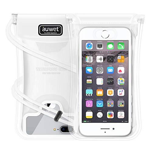 Auwet Schwimmende Wasserdichte Handyhülle, IPX8 Fingerabdruck Unterstütztende Handy Trockentasche mit Justierbarem Halsband für iPhone X, iPhone8 / 8 Plus, iPhone7 / 7 Plus