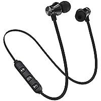 oobest Auriculares inalámbricos magnéticos Bluetooth deportivos auriculares estéreo bajo música auriculares con micrófono auricular negro negro
