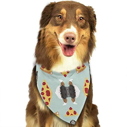 Rghkjlp Australian Shepherd Pizza Funny Cute Pet Bandana Washable Reversible Triangle Bibs Scarf - Kerchief for Small/Medium/Large Dogs & Cats