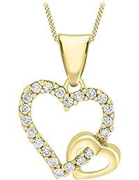 Carissima Gold Damen-Kette mit Anhänger 9ct Double Cubic Zirconia Heart Pendant on Curb Chain 375 Gelbgold Zirkonia weiß Rundschliff 46 cm - 1.43.8234