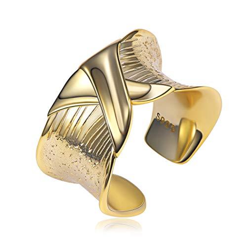 Breite Ringöffnung X Ring Vintage Ring Damen verstellbar 925 Silber einfache Kreuzlinie geeignet für Partner Ring Freundschaftsring Ring, Roségold / 18K Gold/Silber