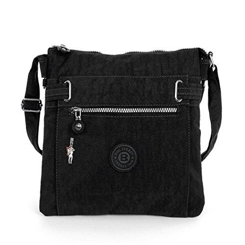 sportliche Handtasche / Schultertasche / Umhängetasche aus Nylon schwarz (Handtasche Nylon Sportliche)