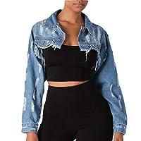 GAGA Women Crop Top Denim Jacket Ripped Holes Denim Jacket Coat Outwears Denim Blue XL