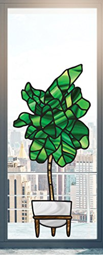 Potted Fiddle Leaf Fig Tree - Stained Glass Style - See-Through Vinyl Window Decal - Copyright 2016 (XXL 21