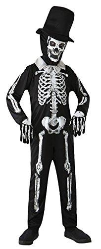 Fancy Ole - Jungen Boy Karneval Kostüm Skelett Bones Zombie Halloween, Schwarz, Größe 134-146, 9-11 (Jungen Teufel Kid Kostüm)