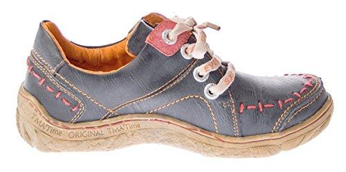 TMA Eyes 1646- Scarpe da donna in pelle Sneakers comode Used Look nei colori Nero Verde Azzurro Rosso Bianco Scarpe sportive con lacci Nero (nero)