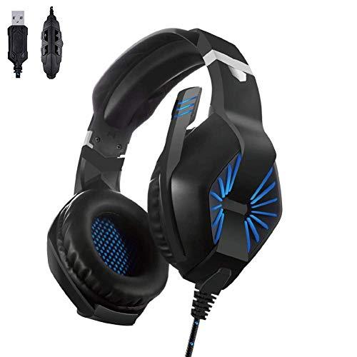 YUNYIN Gaming-Kopfhörer, Noise Cancelling-Kopfhörer mit Lautstärkeregler für Laptops/Tablets/Smartphones Circumaural Gaming-headset