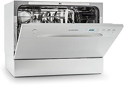 Klarstein Amazonia 6 lavavajillas A+ (1.380 W, 6 cubiertos, 6 programas de limpieza, 49 dB, función Aquastop, cesto para cubiertos y bandeja adicional, programable) - plateado
