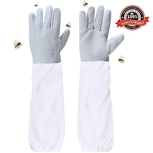 ASEOK Bienenzucht Handschuhe Ziegenleder Schutzhandschuhe Langarm Langlebig Perfekt für den Anfänger Beekeeper