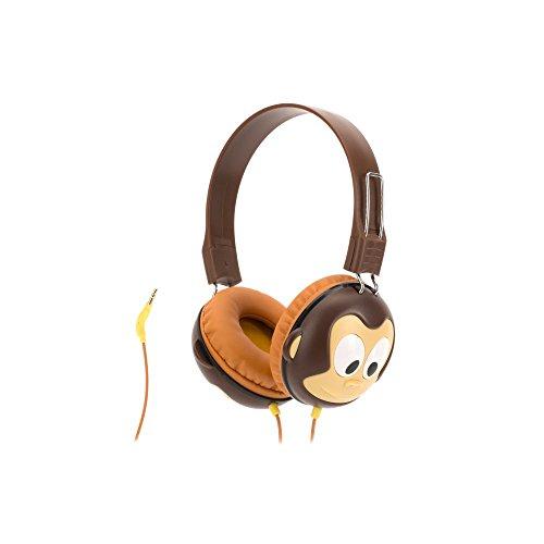 Griffin KaZoo MyPhones Kopfhörer im Affen-Design für Kinder - braun [Lautstärkebegrenzung bei 85dB | Gepolsterte Ohrpads | 3,5mm Klinkenkabel] - GC40290 (Des Affe Jahr)