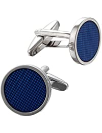 Code Red Men's Base Metal Rhodium Plated with Transparent Blue Enamel Round Cufflinks