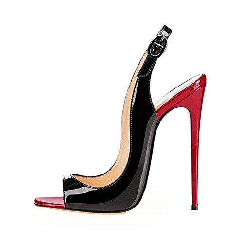 EDEFS Femmes Artisan Fashion Sandales Décolletés Bout Ouverts Chaussures à talon haut de 120mm Noir RedBlack