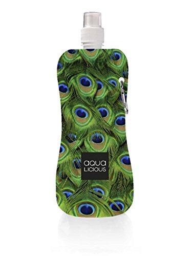 Preisvergleich Produktbild Faltbare Trinkflasche mit Karabiner,  wiederverwendbar mit tollen Motiven (Peacock)