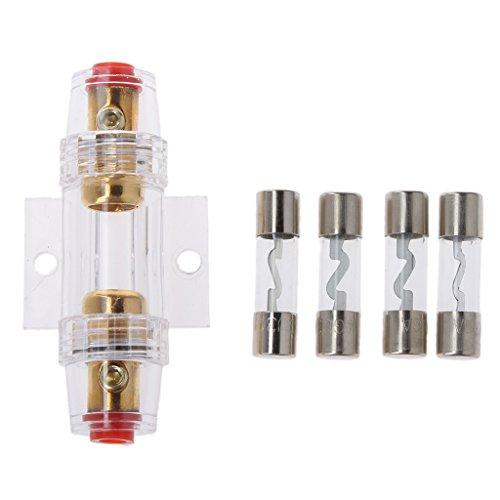perfk Car-Audio-Stereo-Refit AGU Sicherungshalter 4/8-Gauge-Kabel + 4pcs 30 Ampere-Sicherungen 8 Gauge Car Audio
