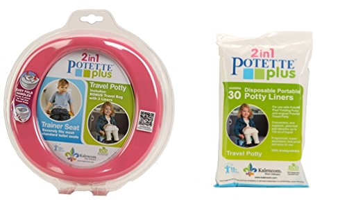 Kalencom 2 in 1 Potette Plus Portable Girl's Potty-Toilet Training Seat with 30 Potty Liners Set by Kalencom
