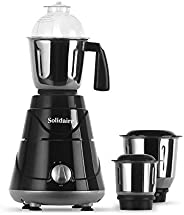 Solidaire 550-Watt Mixer Grinder with 3 Jars (Black) (SLD-550-B)