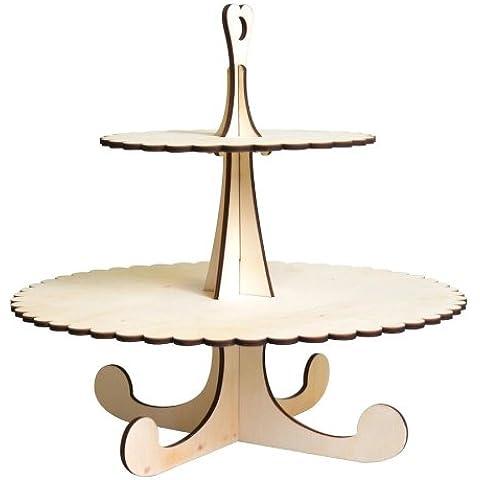 Artemio - Soporte de madera para tartas (redondo, 2 pisos), color beige