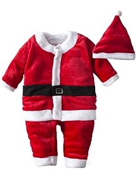 BIG ELEPHANT Baby Jungen 1 Stück Elch Weihnachten Langarm Strampler Pyjama Red M03