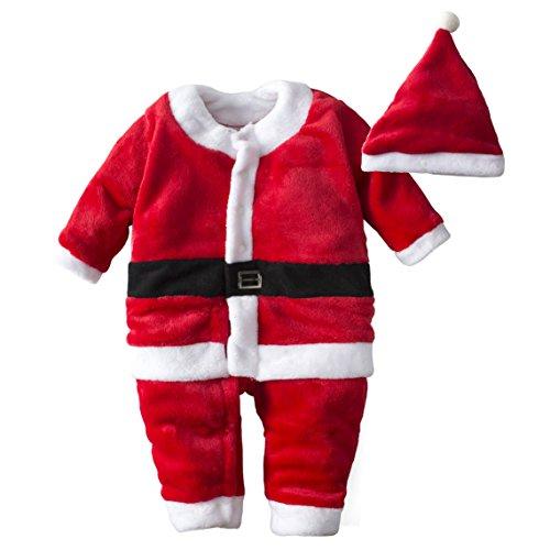 BIG ELEPHANT Baby Jungen 1 Stück Samt Weihnachten Langarm Jacke mit Hut (Spieler Für Halloween Mädchen Fußball Kostüm)