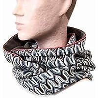 9fcc9f4f7ae1 snood femme gris clair velours et tissu geometrique, echarpe infinie  reversible, tour de cou